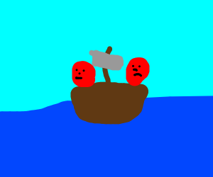 two red heads in a sailing boat