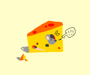 Mouse stuck inside cheese