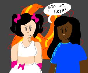 meme girl in front of a fire w/ black woman