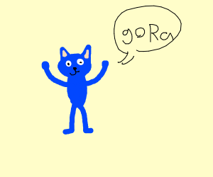 "Happy Blue Cat cheering for team ""Ra"""