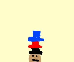 Guy wearing many many top hats