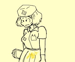 Nurse pees herself...