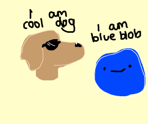 Cool dog w/ sun glasses looking at blue blob