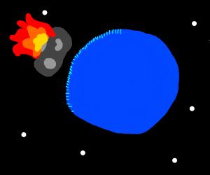 flaming asteroid orbiting around neptune