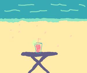 Cherry lemonade at the beach