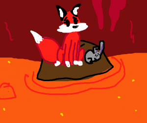 fox and bunny on rock in lava