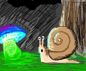 Snail observing a glowing mushroom