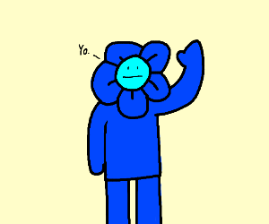 blue flower man