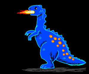 blue dino breathes fire