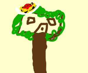 A tree house with a moist noodle