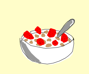 Bowl of strawberry cereal