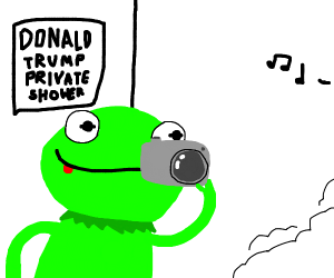 Kermit watches Trump pee in the shower