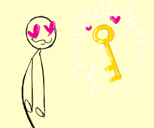 Stickman loves giant key
