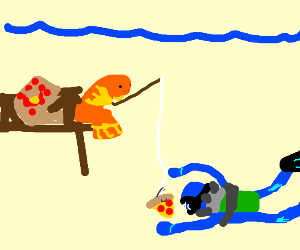 fish fishing for a person