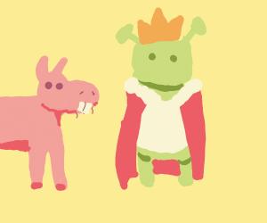 A pink donkey next to king shrek