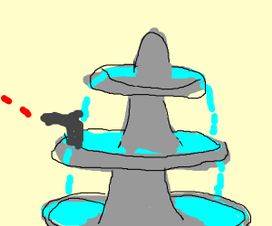 A shooting water fountain