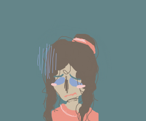 Kid with curly hair is sad