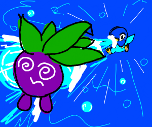 Piplup uses bubble beam on oddish