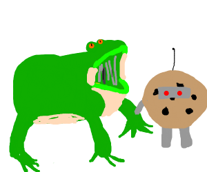 a frog yelling at a cyborg cookie