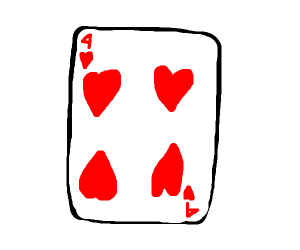 4 hearts from a deck of cards