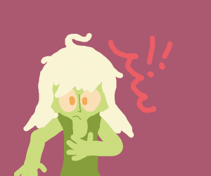 green lady w/white hair looks astonished