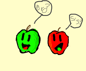 green and red apples are siblings