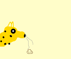 Cheetah sniffs a seashell