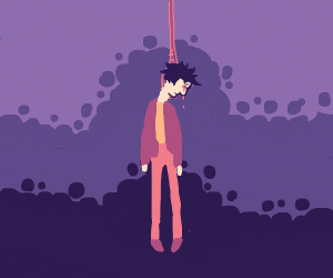 man hanging himself