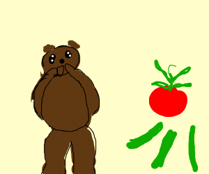 A bear amazed by a tomato and some pickles