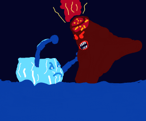 Angry ice holds an angry volcano