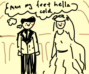 Cold feet on a wedding day