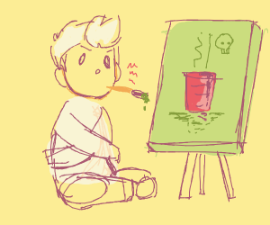 Mental person trying to draw art