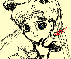 Sailor moon character with a candle