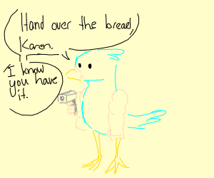 Bird with arms wields gun