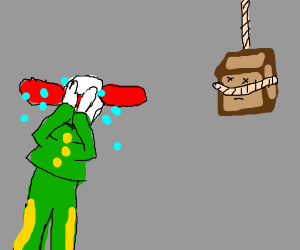 A clown is sad a box committed suicide