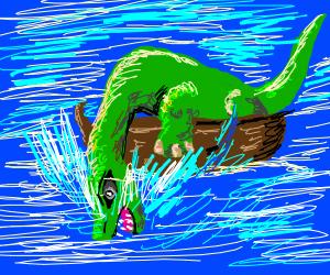 Long neck dinosaur roars in the ocean