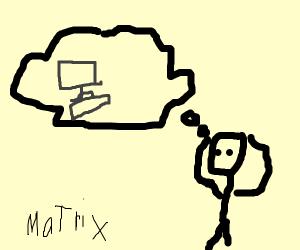 Boy dreaming about the matrix