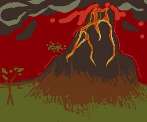 Lava sliding down a volcano