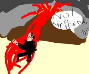 President crossing Lava
