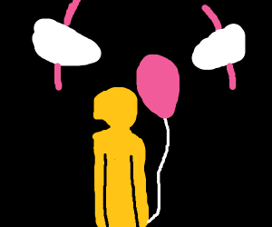 Spooky raincoat child with balloon