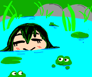 Tsuyu hanging out in a pond with other frogs