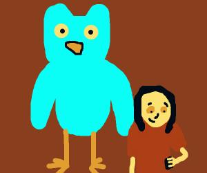 Doulingo owl checks up on somebody