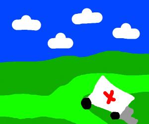 Ambulance stuck in swamp