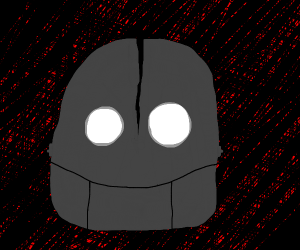 the iron giant looking down menacingly