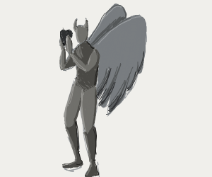 Devil angel with a heart