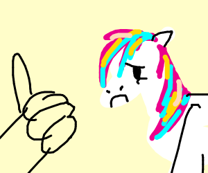 thumbs up to the unhappy unicorn with wings