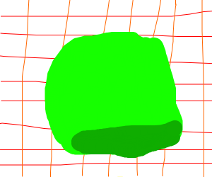 Green blob on red and orange grid