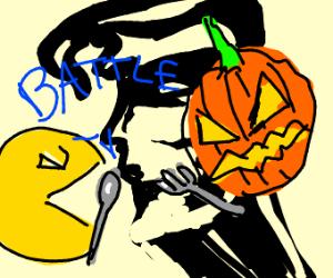 pacman vs pumpkin (dinner battle)