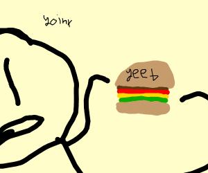 A man steals a yeet burger