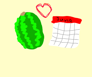 Watermelon and calendar on a date